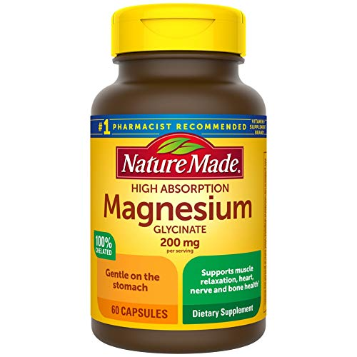 Nature Made High Absorption Magnesium Glycinate 200 mg, Supports Muscle Relaxation, Heart, Nerve, and Bone Health, Gentle on The Stomach, 100% Chelated, 60 Count