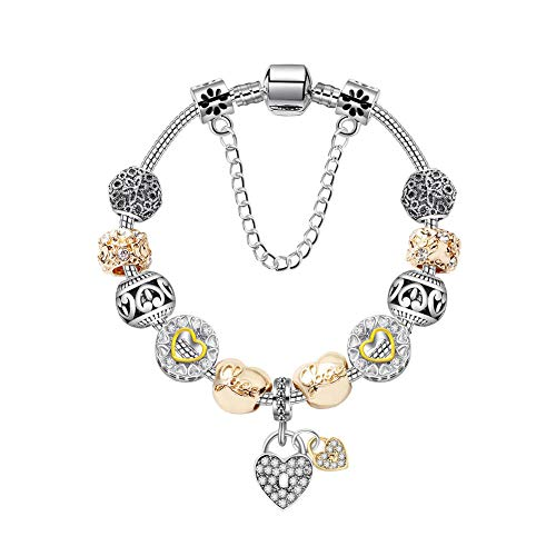 LAYYYQX Heart Lock DIY Charm Bracelet Serpiente Cadena Amor Pulsera Mujer Joyería Regalo 19cm