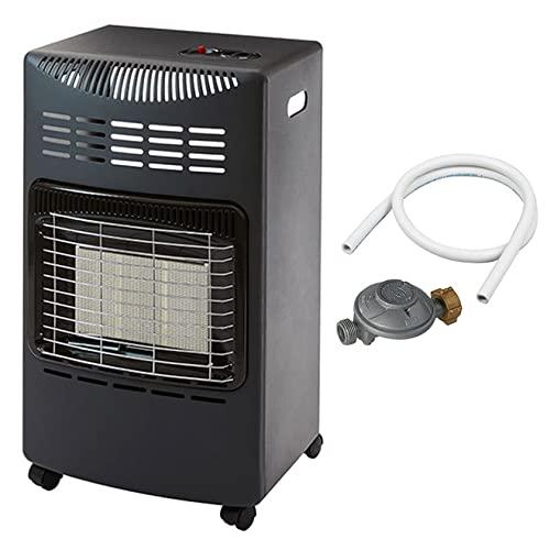 Favex - Chauffage d'appoint à gaz Visby - Prêt à l'emploi livré avec tuyau et détendeur - Intérieur - Brûleur Céramique Infrarouge - 3 Puissances de Chauffe -jusqu'à 40 m² - Noir