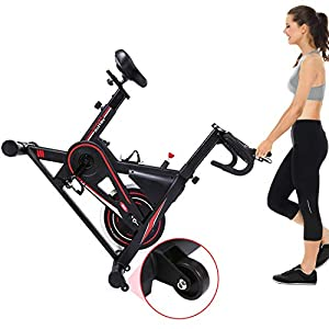 Exercise Bike, DMASUN Indoor Cycling Bike Stationary, Comfortable Seat Cushion, Multi - grips Handlebar, Heavy Flywheel Upgraded Version (Black)