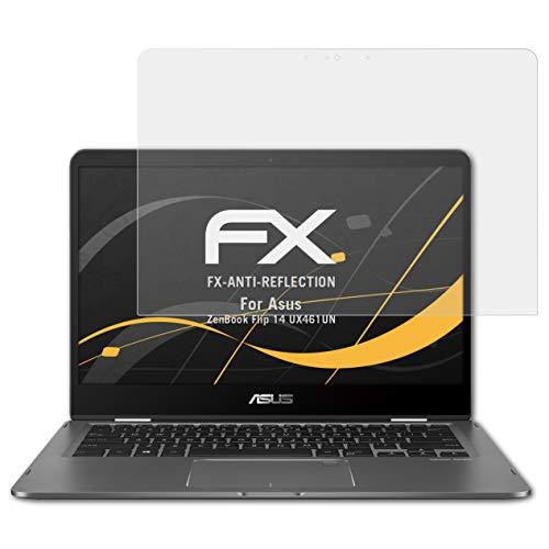 atFolix Panzerfolie kompatibel mit Asus ZenBook Flip 14 UX461UN Schutzfolie, entspiegelnde & stoßdämpfende FX Folie (2X)