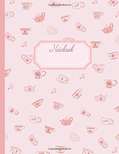 Notebook: Lovely Victorian teacups and teapots cover | Wide ruled line paper | One subject