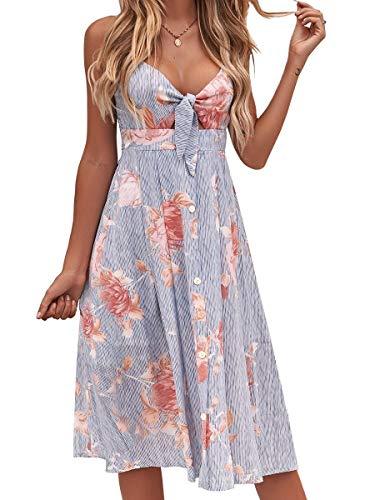 FANCYINN Kleid Damen Sommer Knielang Dekoltee V-Ausschnitt Sommerkleid Midi Träger Rückenfreies A-Linie Kleider Strandkleider Blau