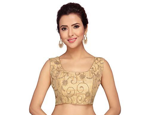Studio Shringaar Women's Net Embroidered Sleeveless Blouse (S2088, Golden, 40)