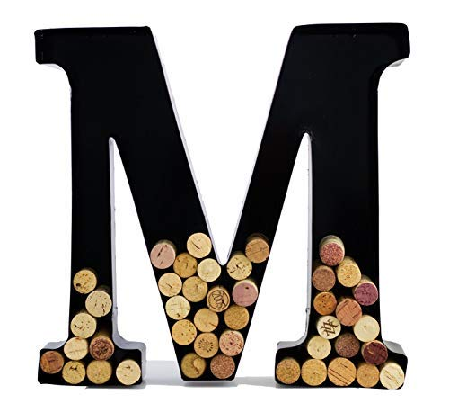 Wine Cork Holder - Metal Monogram Letter (M), Black, Large | Wine Lover Gifts, Housewarming, Engagement & Bridal Shower Gifts | Personalized Wall Art | Home Décor