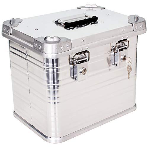 newpo Alubox   Staub - und spritzwasserfest   HxBxT 33 x 39 x 28,5 cm   27 l   Aluminiumbox Box Kiste Alukiste Aluminiumkiste Transportbox Lagerbox