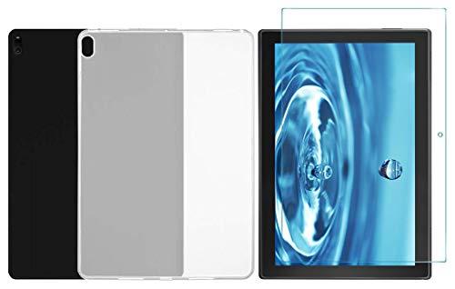Domxteck (Paquete de 2 en 1 Funda Protectora de Silicona TPU Transparente + Protector de Pantalla 9H para Lenovo Tab E10(TB-X104F.