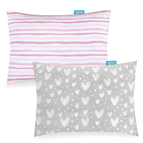 """Toddler Kids Pillowcase for Sleeping 2 Pack, 100% Jersey Cotton Ultra Soft Baby Toddler Pillowcase Fit Pillow Sized 13""""x 18"""" or 14""""x19"""", Pink Envelope Style Travel Pillowcase for Girls Boys"""