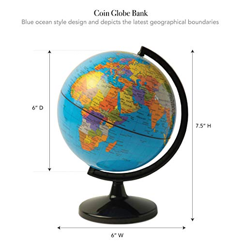 Hemispheres Save the World 5.6' Coin Bank - Teach Kids to Save Money & Learn Places Around the World - Great for Desk or Table Placement