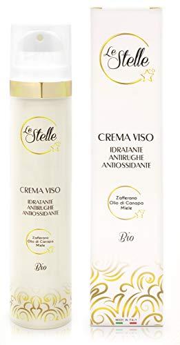 Le Stelle Crema Viso Made in Italy Bio 50ml Unica con Zafferano Miele Olio di Canapa Vitamina E Acido Ialuronico Idratante Antiage