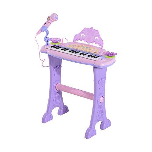 Clavier Musical électronique 32 Touches Multifonctions avec Micro Haut Parleur et Tabouret Rose et...