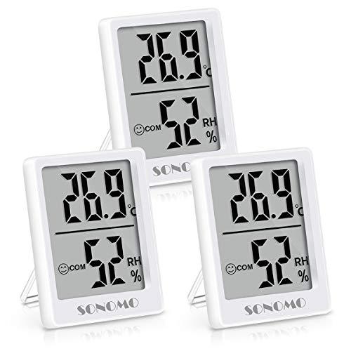 Sonomo Thermo-Hygrometer, 3er Set Hygrometer Innen Thermometer Digital Raumthermometer Luftfeuchtigkeitsmessgerät für Innenraum, Wohnzimmer, Babyraum, Büro (Weiß)