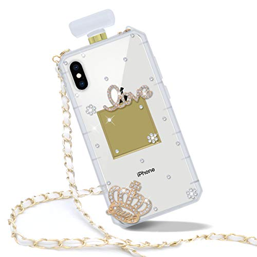 Goodaa for iPhone XR Case, Diamond Perfume Bottle Case,Luxury Elegant Diamond Perfume Bottle Crystal Rhinestone Shiny Bling Crown Cover Case for iPhone XR Case with String