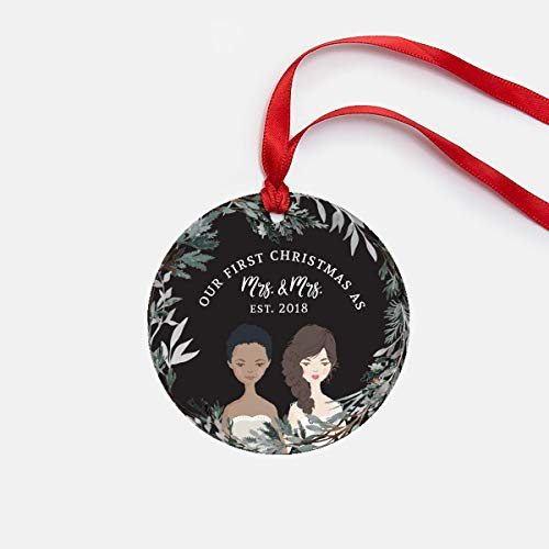 Lplpol Our First Christmas Married Same Sex Wedding Gifts Newlywed Ornament Christmas Ornament for Newlyweds Brides Mrs. and Mrs. Gift Lesbian Gift