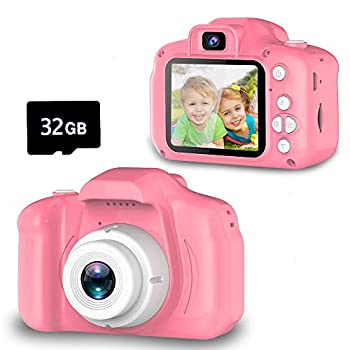 Seckton Upgrade Kids Selfie Camera Christmas Birthday Gifts for Girls Age 3-9 HD Digital Video Cameras for Toddler Portable Toy for 3 4 5 6 7 8 Year Old Girl with 32GB SD Card-Pink
