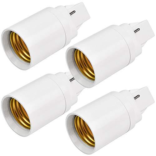 MENGS 4 pieza Adaptador conversor de Montura G24 a Casquillo E27 - Zócalos para lámparas LED halógenas y de Ahorr