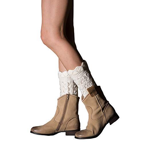 Tukistore Encajes Hueco Cortas Calentador de piernas Mujer Invierno Calcetines de la Rodilla de Ganchillo Calentadores Medias de piernas Calentadores De Punto
