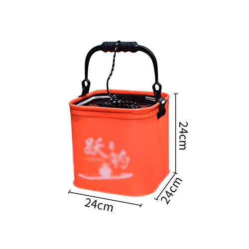 LCZ Cubo Plegable y Resistente al Desgaste, Dicker Equipos Eva-Pesca, la Pesca multifunción Cubo Cubo Cubo de Aparejos de Pesca Klappschaufel,Naranja,Foldable 24cm