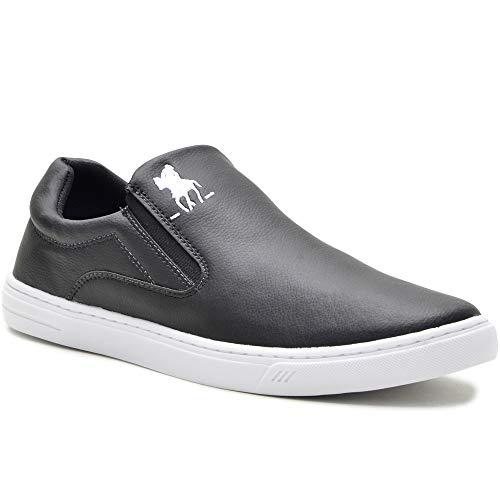 Tênis Slip On Casual Polo Plus Masculino Solado Tr Confort + Boné Cor:Preto;Tamanho:42