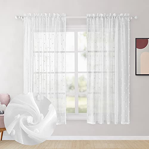 HOMEIDEAS White Sheer Curtains 52 X 63 Inch Length White Pom Pom 2 Panels Voile Pocket Window Curtains Textured Decorative Drapes for Bedroom Girls Room Nursery Kids Teenage Room Living Room