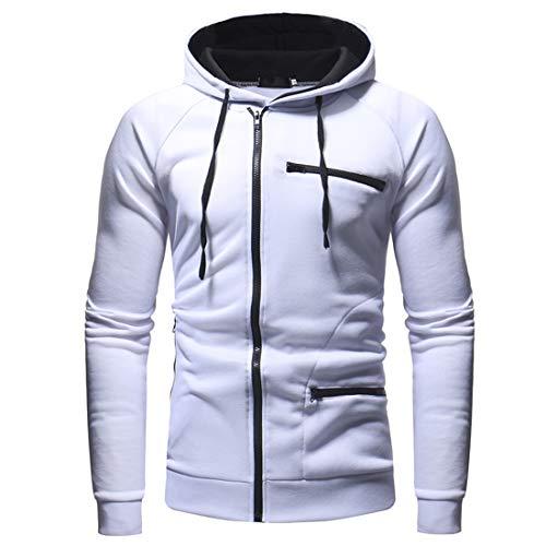 Zytyeu Hoodie Herren Sweatshirts Slim Fit Lässig Langarm Sport Hoody Jacke Leichte Atmungsaktive Zip Jacken Herren Sport Fitness Hooded Jacke Outwear A-White 3XL
