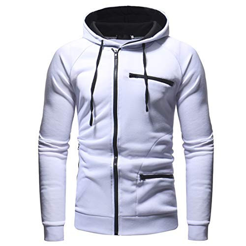 Mens Hoodie Casual Long Sleeve Sweatshirts Sport Zip Hoody Jacket Lightweight Breathable Jackets Autumn Winter Men Sports Fitness Hooded Jacket Outwear with Drawstring L