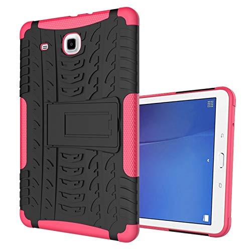 GUODONG Tablet PC Case Cubierta de la Tableta para Samsung Galaxy Tab E 9.6 Pulgadas / T560 Textura de neumáticos TPU + PC Funda Protectora con Soporte de Mango Plegable Tablet contraportada