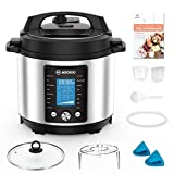 MOOSOO 15-in-1 Electric Pressure Cooker, 6 Quart Perfect for Canning Instant Pressure Pot with LCD Screen, 70% Faster Slow Cooker, Yogurt Maker, ETL Certified,7+ Accessories and Recipes