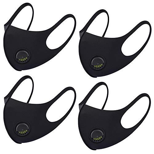 Atmungsaktive Gesichtsmaske aus Stoff, mit Luftventil und Ohrschlaufen, wiederverwendbar, weich, waschbar, langlebig für den täglichen Einsatz in der Öffentlichkeit, schwarz