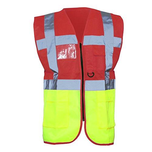 Yoko - Gilet Alta Visibilità Multi-Tasche (XL) (Rosso/Giallo alta visibilità)