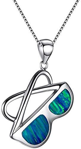 ZHJBD Fine Jewelry/Frauen-Anhänger weißes Gold überzogen Blue Opal-Sonnenbrille for Mädchen Freundin Liebhaber 45X2.3X2.1CM