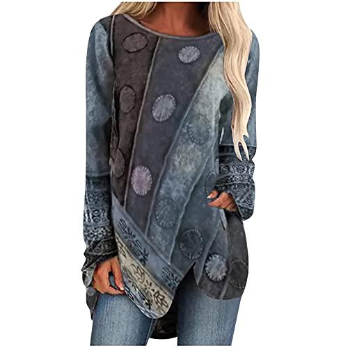 Plus Size Summer Tops Long Sleeve Crewneck Tribal Paisley Bohemian Beach Tshirt Irregular Hem Midi Blouse Top Gray