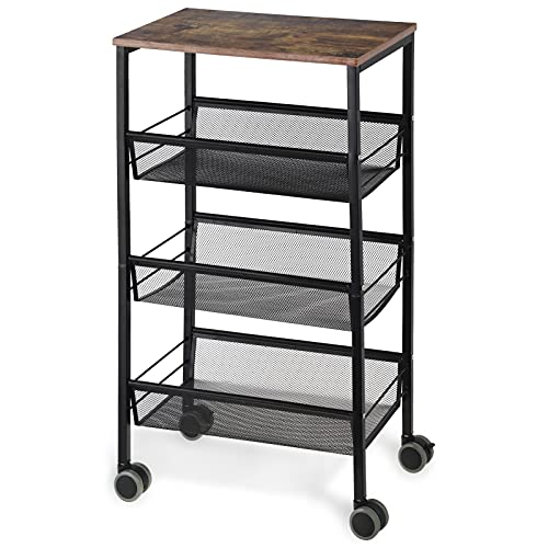 LIANTRAL Rustic Kitchen Cart with Wheels and Storage,3 Tier Metal Mesh Rolling Storage Cart, Mesh Storage Pantry Cart with Lockable Wheels,Wood Look...