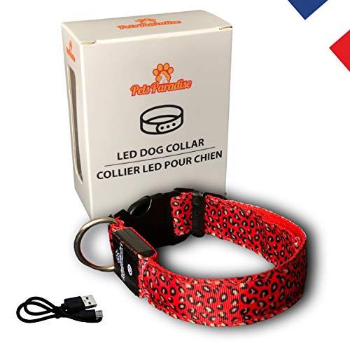 Pets Paradise – Collare LED leopardato rosso fluorescente luminoso regolabile Premium – ricaricabile USB e impermeabile IP65 – Regala un gioiello al vostro cane / cucciolo – [Marca francese]