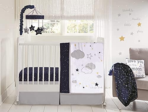 Wendy Bellissimo - Juego de ropa de cama para cuna de bebé, 4 piezas, diseño floral, color azul marino, gris, blanco y rosa turquesa, Stars