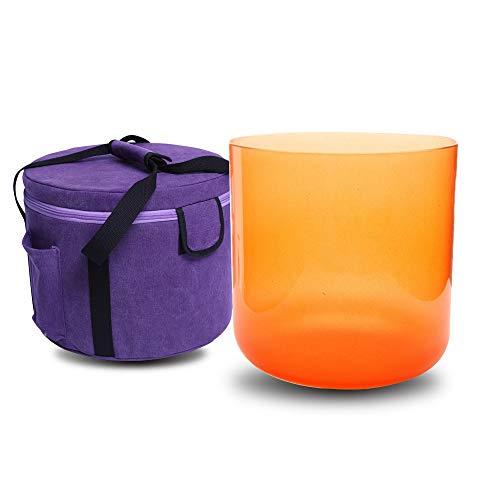 Cuenco de cristal de cuarzo para cantar con diseño de chakra sacro, color naranja, 17 cm, incluye una bolsa de maleta y una junta tórica