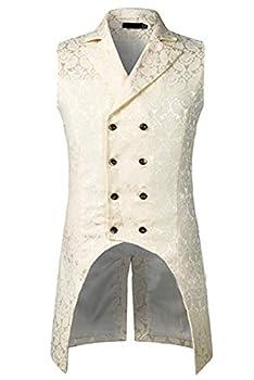 Keppler Mens Gothic Steampunk Vest Slim Fit Tailcoat Jacquard Brocade Double Breasted Waistcoat Sleeveless White
