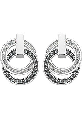 JETTE Silver Damen-Ohrstecker 925er Silber 54 Zirkonia One Size Silber/Schwarz 32001421