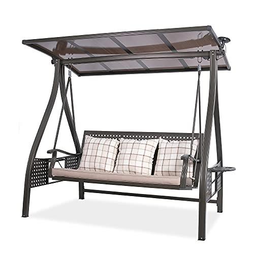 wuuhoo I Hollywood Marilyn - Dondolo a 3 posti con struttura in alluminio di alta qualità e tettuccio parasole regolabile elettricamente