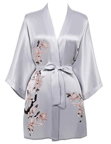 BABEYOND Damen Morgenmantel Blumen Gedruckt Sommer Bademantel Kimono Kurz Robe Leicht Schlafmantel Damen Satin Strandkleid (Grau)