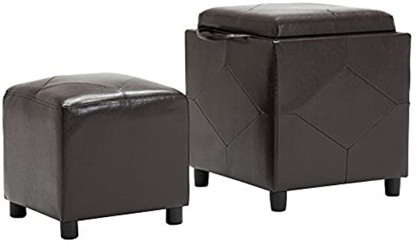 Yongchuang Faux Leather Single Storage Ottoman 1 Ottoman Inside