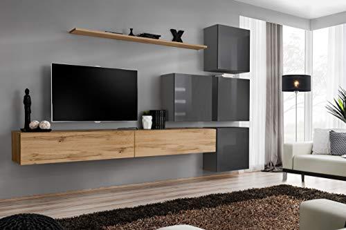 all4all Wohnwand Hochglanz TV Board Anbauwand Schrankwand Fernsehwand Wohnzimmerset Lowboard Kleine Wohnwand Fernsehschrank SW 9 (Wotan - Grau - Mastero)