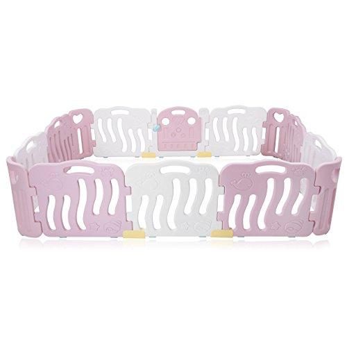 Baby Vivo Laufgitter Laufstall Baby Absperrgitter Krabbelgitter Schutzgitter für Kinder aus Kunststoff mit Tür und Spielzeug 14 Elemente in Pink/Weiß - Bailey