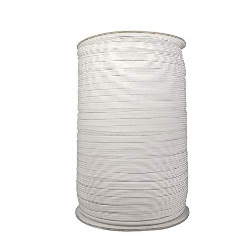 12mm x 100m wit elastisch snoer voor kwaliteit naaien en trimmen - Stretchy touwtje voor het maken van taillebanden, riemen, armbanden, lingerie, linten en textiel ambachten - rol van zacht stretchmateriaal