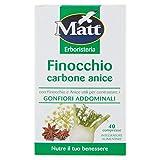 Matt&Diet - Compresse di Finocchio Carbone Anice - Integratore Alimentare con Carbone Vegetale per Gonfiori Addominali - 40 Capsule - 28 gr
