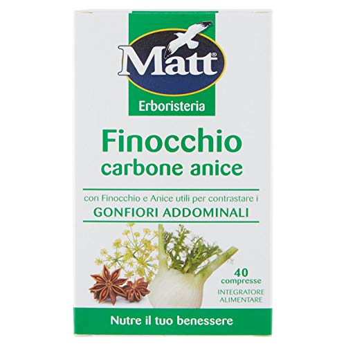 Matt Integratore Alimentare con Carbone Vegetale per Gonfiori Addominali, 40 Capsule, 28g