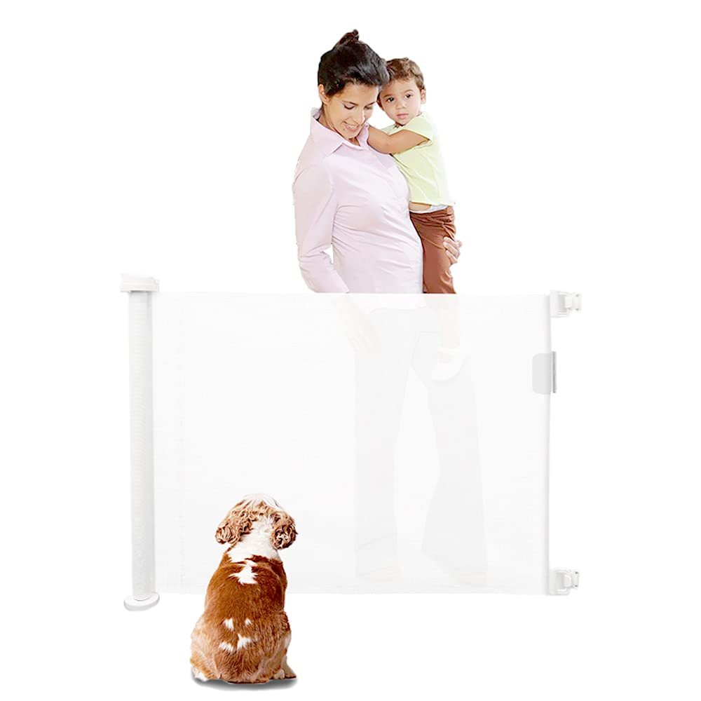 Sisilia Houseware Retractable Safety Mesh Gate for Babies and Pets | 51 inches Wide