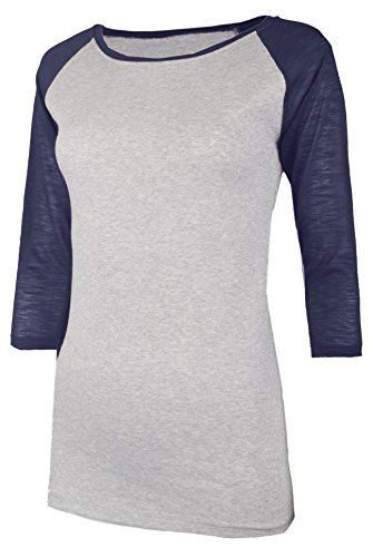 OLLIE ARNES Women's Extreme Softness Baseball Raglan T-Shirts with 3/4 Sleeve 00_LTGNAVY M