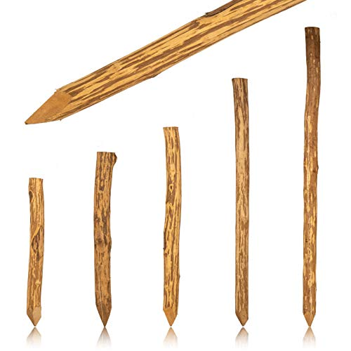 Hekpaal hazelnoot geïmpregneerd · spitse ronde houten palen in Ø 6-10 cm · rondhouten palen als plantenpalen of voor hek, kastanhek en boerhek 180 cm bruin