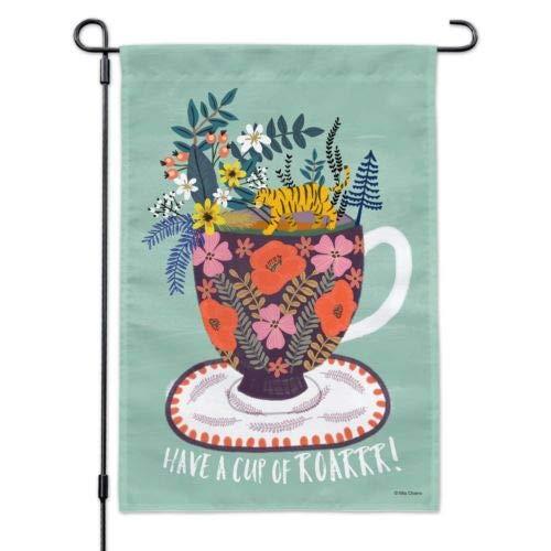 Dom576son Seizoensgebonden Tuinvlag, 12 x 18 Inch Outdoor vlag, Tuin Banner, Hebben een Beker van Roar Koffie Thee Cafeïne Tuinwerf Vlag